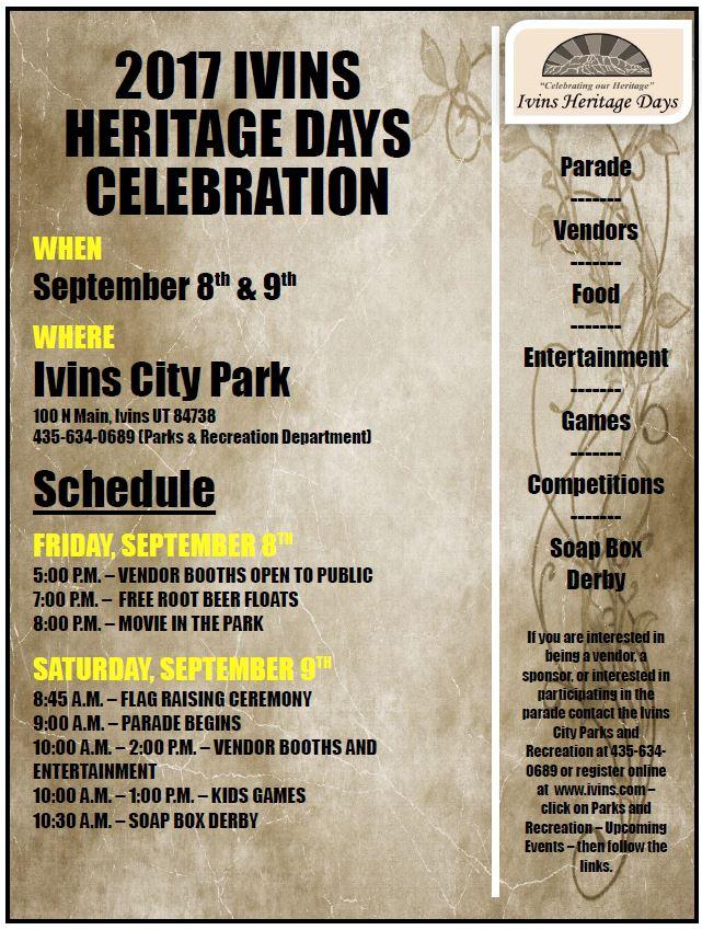Ivins City Heritage Days Celebration @ Ivins City Park | Ivins | Utah | United States