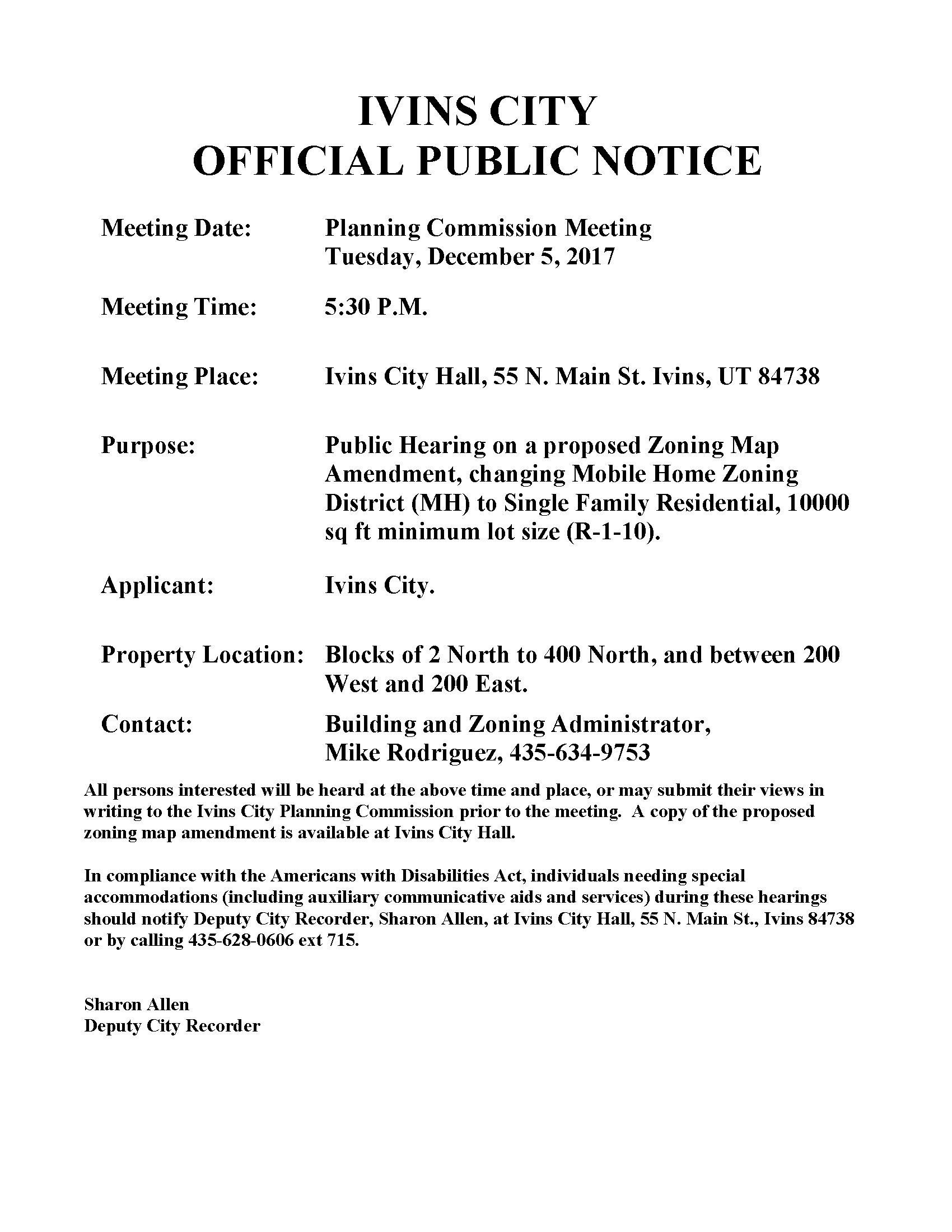 Public Hearings   Ivins City